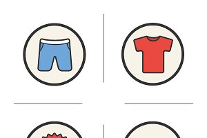 Sport clothes store icons. Vector