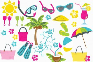 Tropical beach clipart