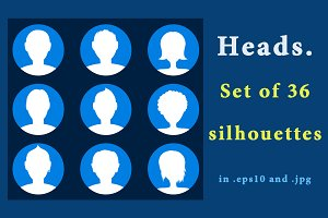 Heads icons - set of 36 silhouettes.