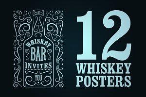 Whiskey Bar retro poster.