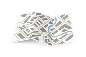 Folding map of the city on white