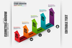 Infographic Arrow Business Isometric
