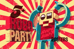 "Vintage poster for ""Roboparty""."