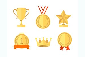Award Set Flat Style. Vector