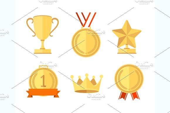 Award Set Flat Style. Vector - Illustrations