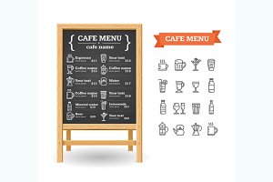 Cafe Menu Black Board. Vector