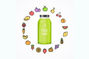 Juice Bottle Jar Template. Vector