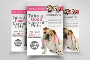 Pets Clinic & Care Flyer Template