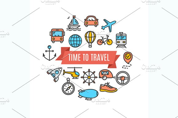 Travel Concept Card. Vector - Illustrations