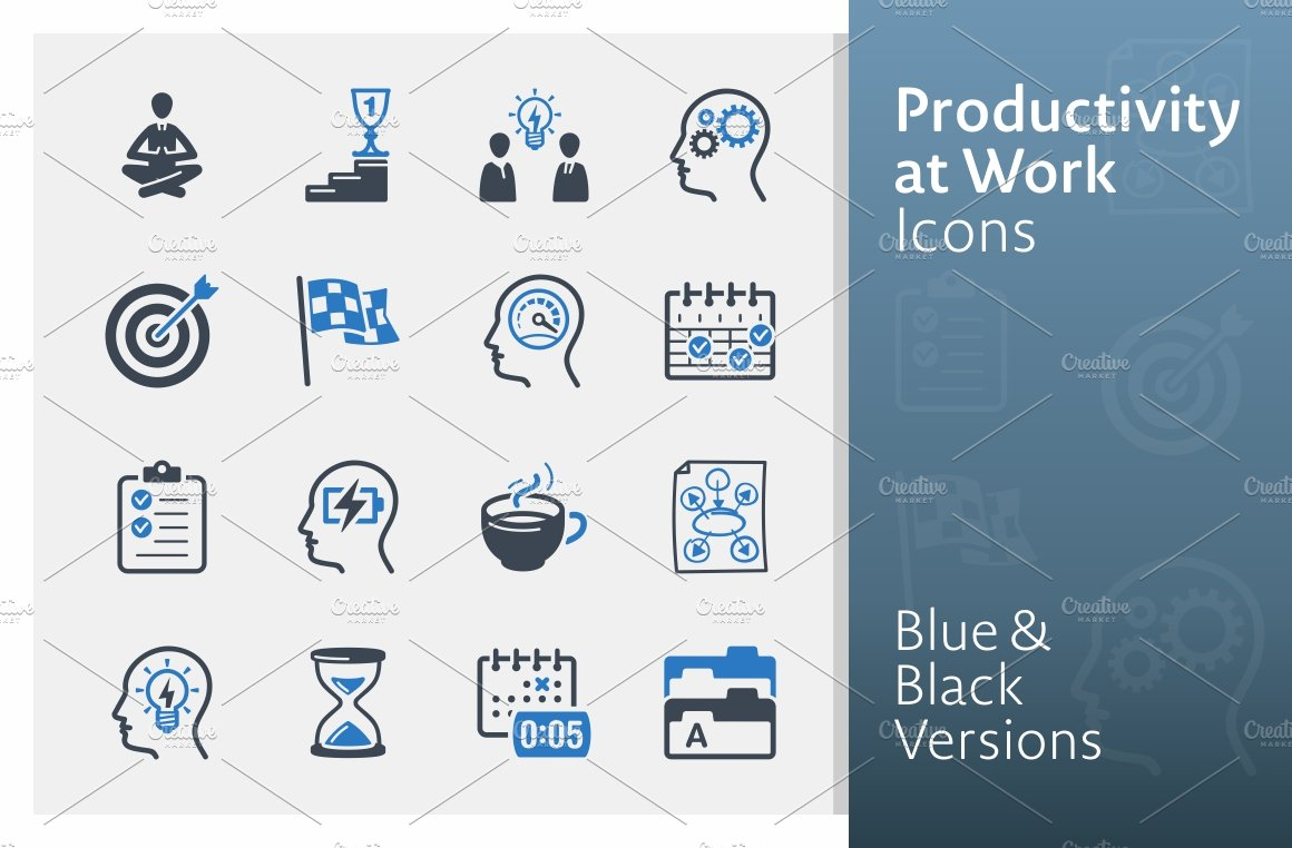 Productivity At Work Icons Blue Icons Creative Market