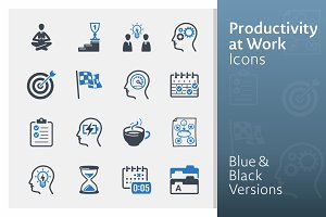 Productivity at Work Icons | Blue