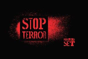 Stop terror typographic poster.