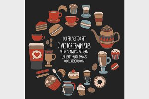 Coffee vector set on blackboard