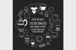 7 vector templates (jpg+eps) Coffee