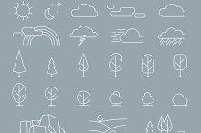 Nature landscape elements icons