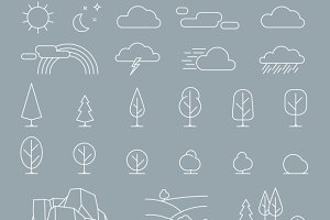 Nature landscape elements icons