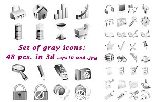 Set of gray 3d icons.