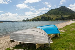 Boats on beach at Tauranga NZ