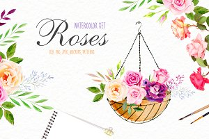 Watercolor roses & florals set