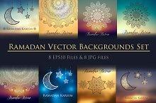 8 Ramadan backgrounds vector set