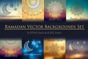 8 Ramadan backgrounds vector set