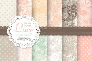 12 Lace patterned papers +editables