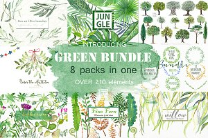 Green Bundle. Watercolor clipart.