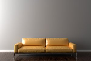 Blank Wall in empty room with sofa