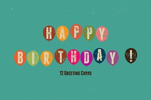 Typographical retro Birthday Card.