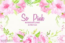 Watercolor Clipart So Pink Flowers
