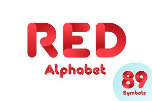 Red alphabet with digits and symbols