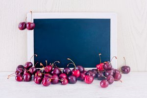 Cherry with chalkboard