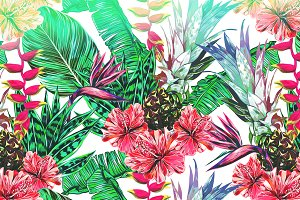 Tropical Seamless Vector Pattern