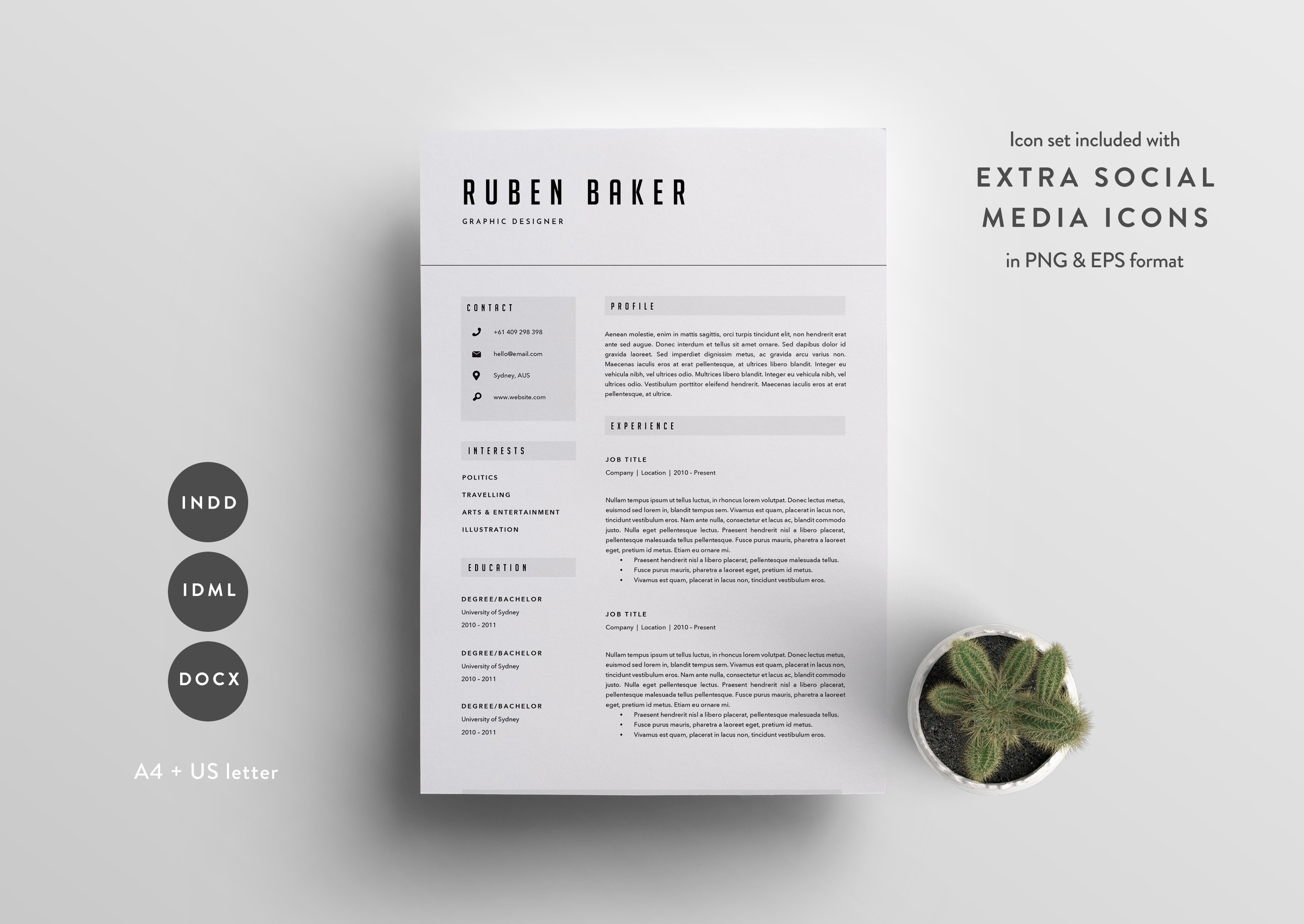 resume template 3 page cv template resume templates creative market - Interesting Resume Templates