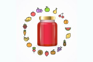 Jar Glass with Jam. Vector