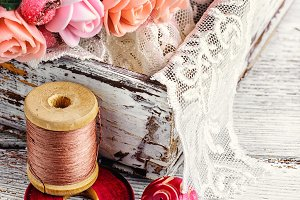 Beautiful beads and spool of thread
