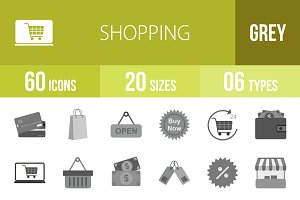 60 Shopping Greyscale Icons
