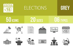 50 Elections Greyscale Icons