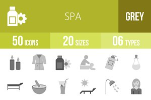 50 Spa Greyscale Icons