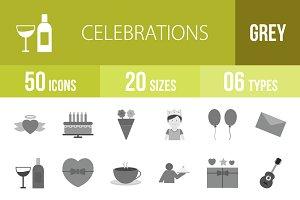 50 Celebrations Greyscale Icons