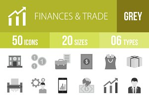 50 Finances & Trade Greyscale Icons