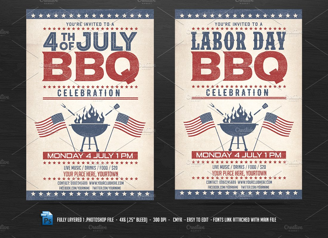 4th Of July Bbq Flyer Flyer Templates Creative Market