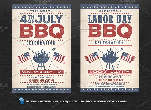 4th of July BBQ Flyer ~ Flyer Templates ~ Creative Market
