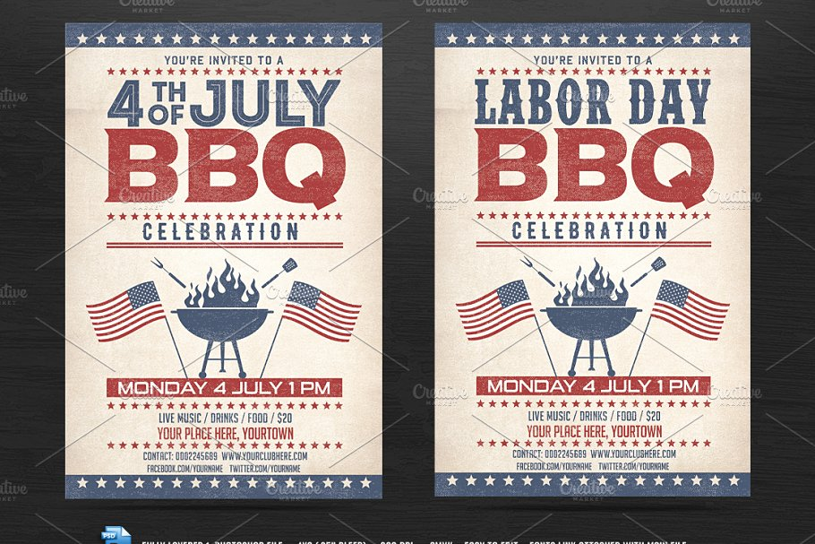 4th of July BBQ Flyer - Flyer Templates | Creative Market Pro