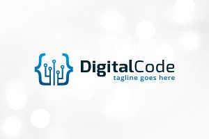 Digital Code Logo Template