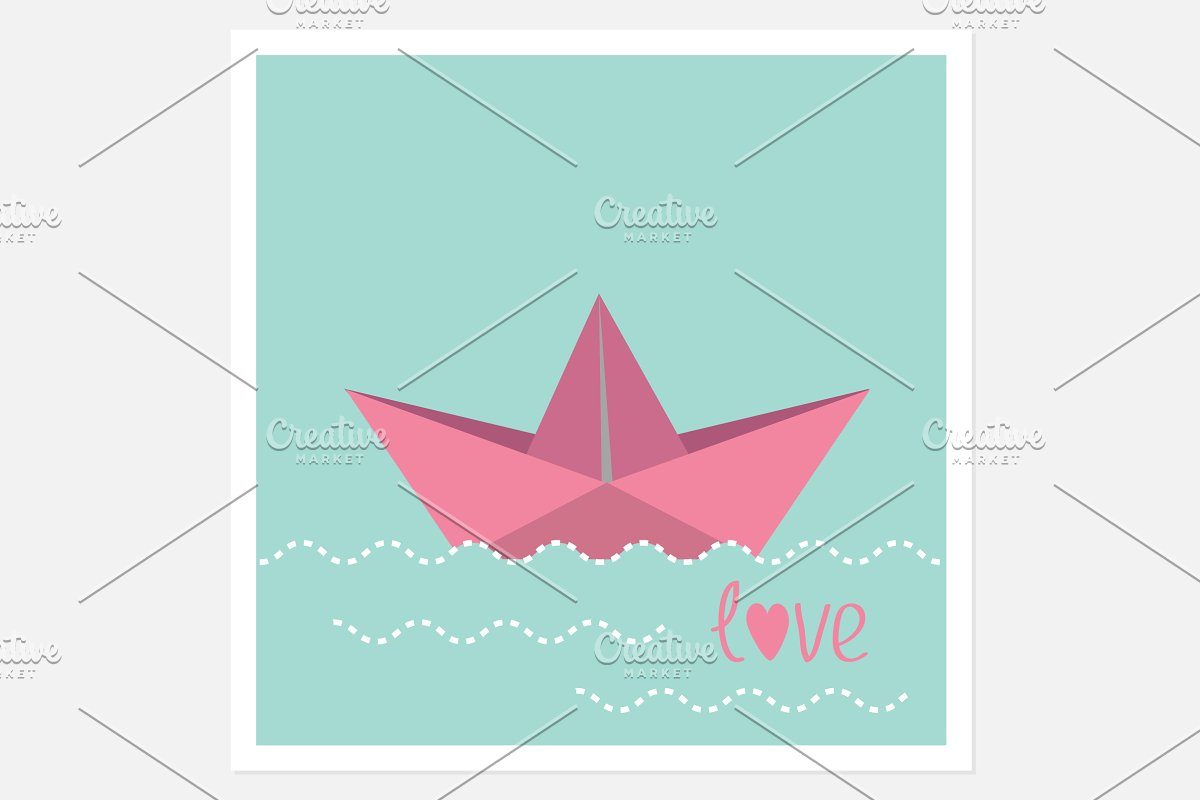 Origami Paper Boat And Waves Illustrations Creative Market