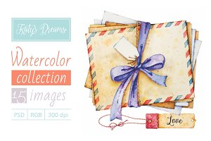 Watercolor set / Envelopes and tags
