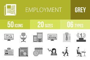 50 Employment Greyscale Icons