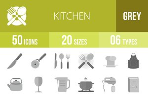 50 Kitchen Greyscale Icons