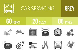 60 Car Servicing Greyscale Icons